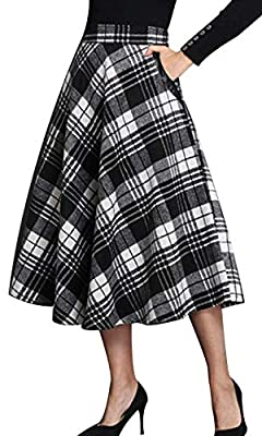 Daxvens Women Long Plaid Skirt with Pockets, Wool Blend High Waist A Line Midi Flare Swing Skirts
