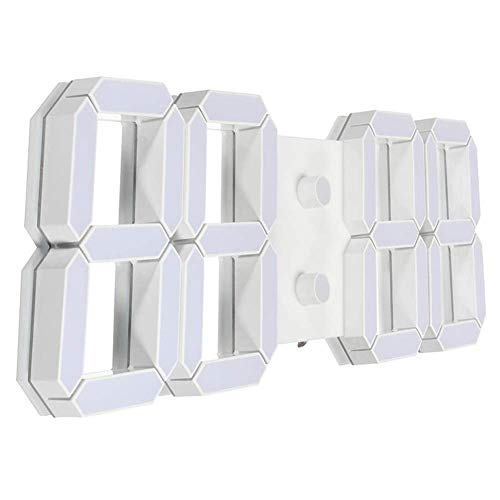 BECCYYLY Reloj de cabecera, Reloj de Alarma Ajustable Grande Moderno 3D Diseño Digital LED Reloj de Pared Skeleton 24/12 Hora Pantalla - Blanco, Simple wmpa