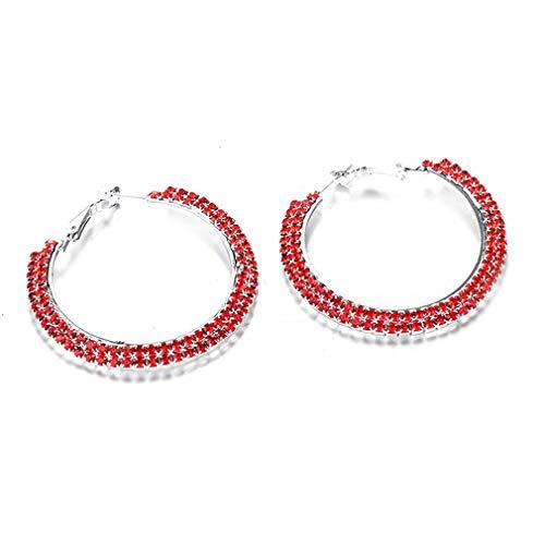 SUNSKYOO Damen-Ohrringe, groß, groß, hohl, rund, doppelreihig, mit Diamant-Kristall, Legierung, rot, 4.8cm