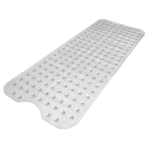 Pukkr Alfombra de baño extra grande | Succión de seguridad | Lavable a máquina | 30% más largo | Libre de Alérgenos Transparente