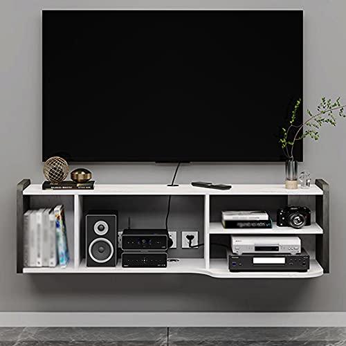 Estante para decodificadores, estante moderno montado en la pared en la sala de estar, estante de almacenamiento abierto de gran capacidad/White / 126x34x36cm