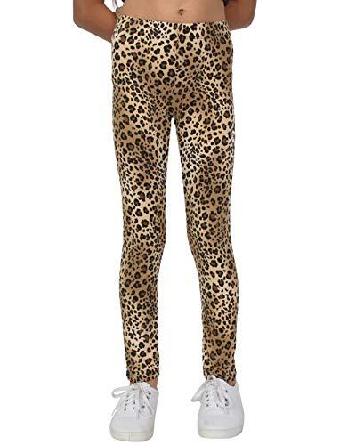 Stretch is Comfort Girl's Leggings Brown Cheetah Small