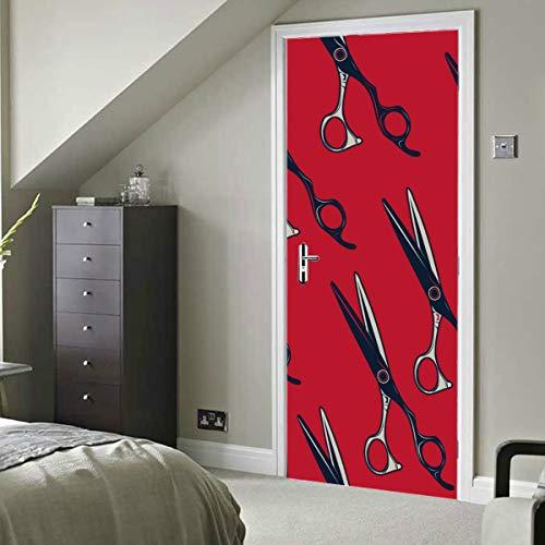 Tijeras de peluquería retro de dibujos animados Vinilo autoadhesivo Extraíble Puerta Mural Pegatina Papel tapiz de cocina 30x79 pulgadas (77x200 cm) 2 piezas