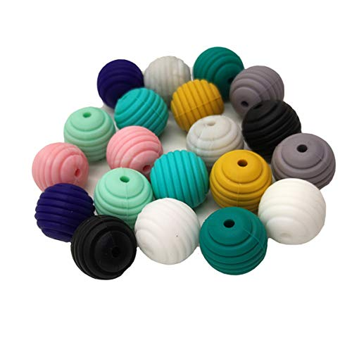 Why Choose 50pcs Baby Silicone Screw Thread Beads Teether Food Grade Pearl Spiral Shape Oral Care Beads DIY Silicone Teething Necklace Accessorie (Mix Color 50pcs)