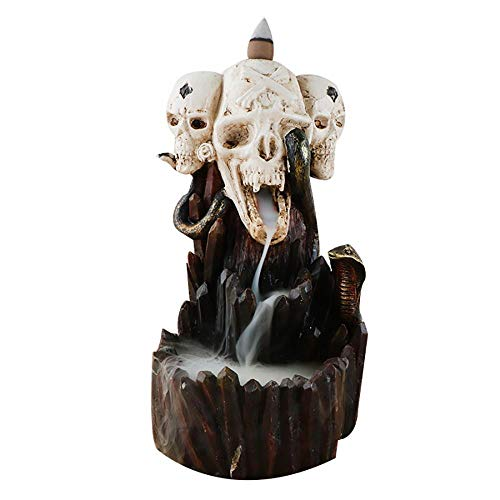 Rückfluss-Räuchergefäß, handgefertigt, Keramik, Räucherstäbchenhalter, Heimdekoration, Wasserfall-Räuchergefäß, Räuchergefäß + 10 Rückfluss-Räucherkegel, Geschenk (Totenkopf)