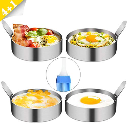 YAOYIN Egg Ring, 4 Pack 9cm Spiegeleiform zum Kochen von Spiegelei/Pfannkuchen/Omeletts und mehr, Antihaftbeschichtung, Lebensmittelqualität Edelstahl