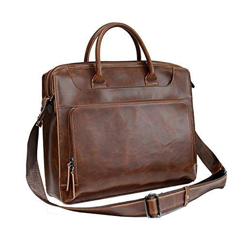 DLQX Men's Briefcase,Large Capacity PU Leather Messenger Travel Bag,Portable Business Laptop Bag,Can Be Used For Travel/Business/School(Color:A)