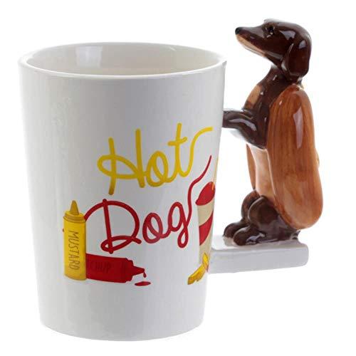 Mugs Coffee Cup Gift Creative Cute 3D Ceramic Mug Sausage Dachshund Dog Pattern Three-Dimensional Animal Handle Breakfast Cup Coffee Milk Cup,301-400Ml