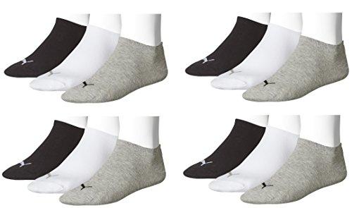 Puma Unisex Sneaker Sportsocken 12 x Paket (35-38, schwarz/weiß/grau)