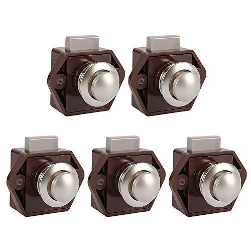 5 Stück Push Button Catch Door Lock Verriegelung Türschloss Keyless Schrank Lock mit Druckknopf Verschluss Schrankknopf Lock für Schrank,Wohnmobil, Boot,Wohnwagen (Braun)