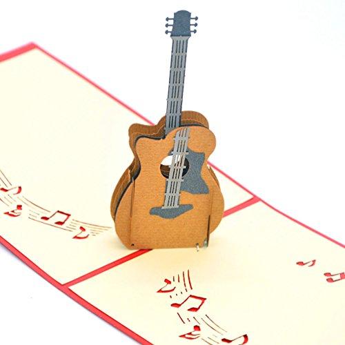 Medigy 3D POP UP Grußkarte Handgemacht Segen Papier Klappkarten Business Geschenkkarte Glückwunschkarten,Gitarre