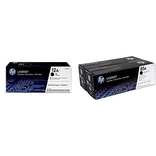 HP 12A Q2612AD, Negro, Cartucho Tóner Original, Pack de 2, para impresoras LaserJet Serie + CE285AD 85A Cartucho de Tóner Original, 2 unidades, negro