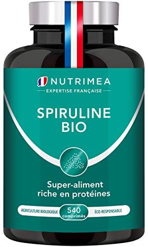 Spiruline BIO pure 500 mg | 19% de phycocyanine | 540 comprimés | Riche en protéines, antioxydants, fer | Sans excipients et OGM...