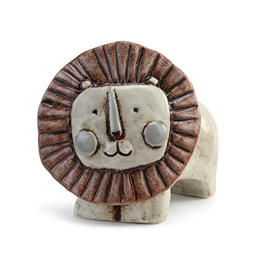 DEMDACO Noah's Ark Lion - Hucha de cerámica brillante (7 x 7 cm), color gris