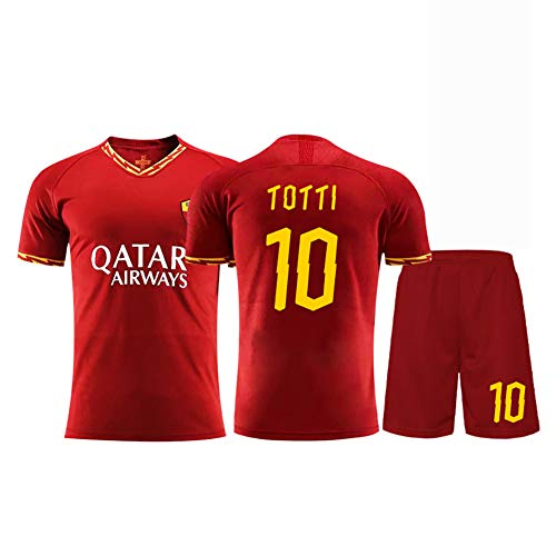 Herren Fußballtrikot 2019-2020 Fan Trikot Fußballtrikot 6 Strootman 10 Totti, Trikot Shorts Anzug Retro Trikot Sportswear Erwachsenen- / Kinderanzug-red10-L