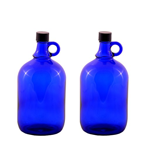 LGL Haushaltswaren GmbH Blaue Glasballonflasche 2X 2 Liter aus Blauglas Flasche mit Schraubverschluss und Henkel (2x2Liter)