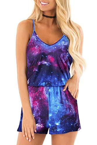 Loveternal Galaxy Jumpsuit Damen Sommer Kurz Playsuits V-Ausschnitt Overall Verstellbare Lose Ärmellos mit Taschen XL
