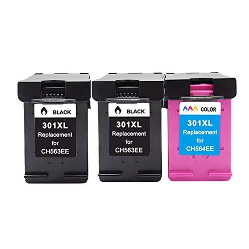 CMDZSW Reemplace el Cartucho de Tinta 301XL Compatible con HP301 con HP 301 XL CH563EE CH564EE para DESKJE 1000 1050 2000 2050 2510 3000 (Color : 2 Black 1 Color)