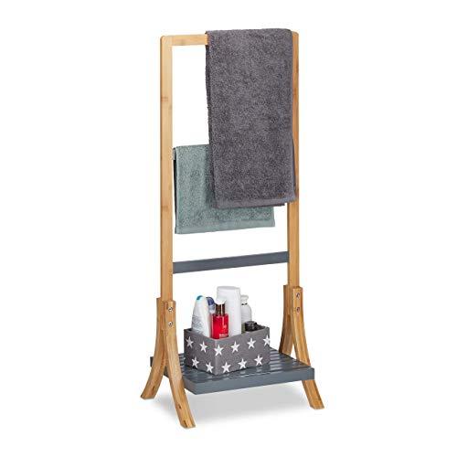 Relaxdays Handtuchhalter Bambus, mit Ablage & 3 Handtuchstangen, freistehender Handtuchständer, 103x41x28cm, Natur/grau