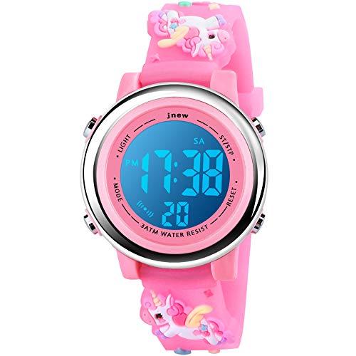 Kinder Uhr, Armbanduhr für Kinder Jungen und Mädchen, Kinder Armbanduhr 3D Cartoon Wasserdicht 7 Farben Lichter Kleinkind Handgelenk Digitaluhr mit Alarm