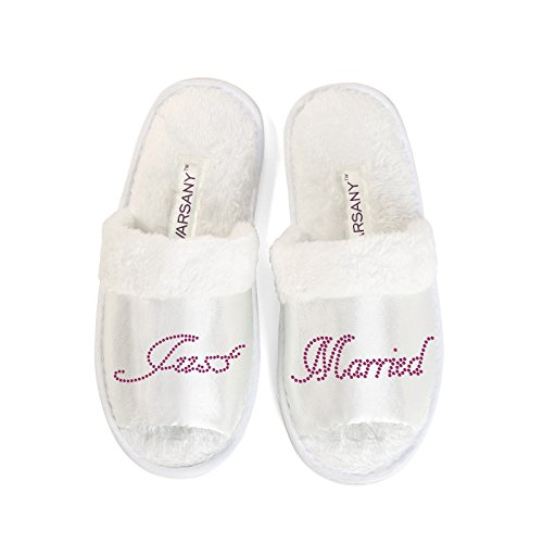 CrystalsRus New Clear Just Married Slippers Bride Bridesmaid Spa Hen Weekends Wedding Gift By Varsany OT