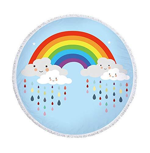 XIAOBAOZISTJ Runder Strandtuch Wandteppich Regenbogen Fransedruck Dick Und Weich Hippie-Picknickdecke Badetuch Yogamatte (Weiße Wolken