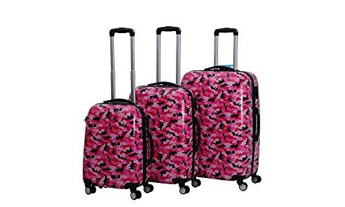C&T HOT CASE Reisekoffer Trolley Hartschalen Polycarbonat mit Zahlenschloss und 4-Zwillingsrollen 20' 24' 28' 3er Set (20'/S, Camouflage rosa)
