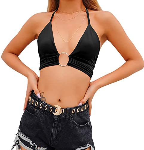 Women Halter Backless Crop Tops Streetwear Club Patchwork Camisole S Black product image