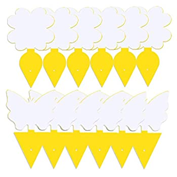12-Pack Dual-Sided Yellow Sticky Traps for Flying Plant Insect Such as Fungus Gnats Whiteflies Aphids Leafminers,Thrips.Shape-Butterfly+Leaf