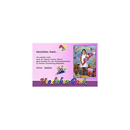 15 Individuelle Fotokarten als Dankeskarten zur Einschulung, Danksagung ESD12 , im Format 10x15 cm inkl. hochwertigem farbigen C6 Umschlag