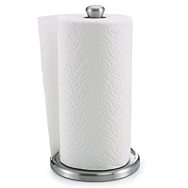Polder Single Tear Paper Towel Holder – Sturdy, One-Handed Tear, Fits Standard Jumbo-Sized Rolls - Brushed Stainless Steel