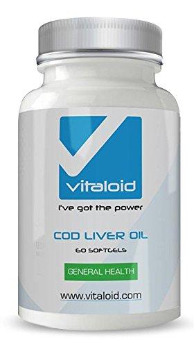 Aceite de Hígado de Bacalao Vitaloid - Cuida tus huesos, articulaciones y tu sistema inmunológico - Suplemento Vitamínico de Hígado de Bacalao - El Aceite de hígado de bacalao es una fuente de ácidos grasos esenciales omega 3 EPA y DHA que contribuyen a optimizar la función cardíaca. Aporta vitamina E que ayuda a proteger las células contra el daño oxidativo. El aceite de hígado de bacalao contiene un mayor nivel de vitaminas A y D que otros aceites de pescado