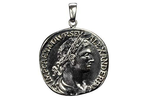 SILBERMOOS Damen Anhänger Münze Nachbildung antik römisch Kaiser Caesar rund geschwärzt 925 Sterling Silber
