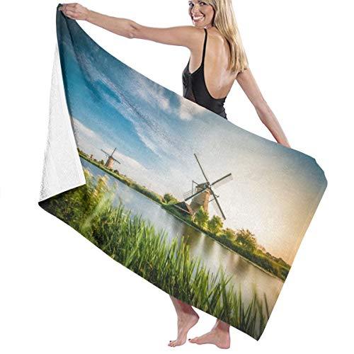 Zachary Sherman Historians Dutch Windmills Near Rotterdam badhanddoek, strandhanddoek, douchehanddoek, antibacterieel, absorberend, zacht, hoogwaardig, 130 x 80 cm