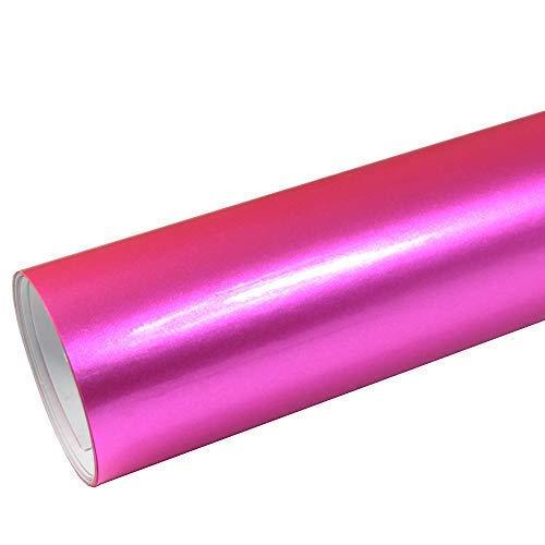Rapid Teck® 8,55€/m² AutoFolie Serie z560 Candy Pink Hochglanz 1m x 1,52m Rosa selbstklebende Premium Car Wrapping Glanz Folie mit Luftkanal