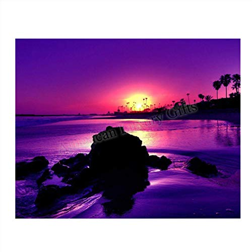 Sunset On the Coast in Purple- 8 x 10-Wall Art Print- Ready to Frame. Beautiful Beach Décor- Tropical Island Beach Sunsets Make the Perfect Art for Any Room. Great Gift for Beach Pictures Wall Art.