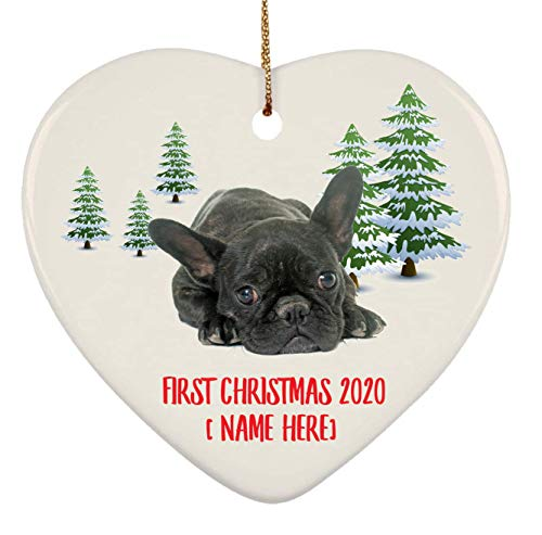Personalized French Bulldog Brindle Black Ornaments First Christmas 2020 Tree On Winter Landscape Ceramic Heart