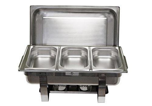 Gastro-Bedarf-Gutheil Chafing Dish Trio 61 x 36cm, H: 29cm Edelstahl, bestehend aus: 1 Gestell mit Deckelhalterung, 1 Wasserbecken 3 Speisebehälter GN 1/3-65 mm