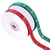 Cinta de Navidad, 2 rollos Cinta de Navidad Feliz Guirnalda Árbol Decoración de dulces para regalos Arcos, Conjuntos de cinta de Navidad Adornos de Navidad para envolver manualidades, rojo y verde