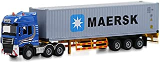 Tang-Dynasty(TM 1:50 Shipping Container Truck Die-Cast Vehicle with MAERSK Shipping Container and Driver Car Toy Model (MAERSK)
