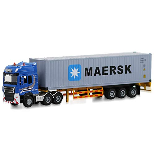 TANG DYNASTY(TM 1:50 Shipping Container Truck Die-Cast Vehicle with MAERSK Shipping Container and Driver Car Toy Model (MAERSK)