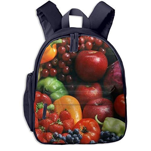 AOOEDM AOOEDM, Mochila Escolar para niños, Bonita Variedad de Verduras, Frutas, Mochilas de Dibujos Animados, Mini Mochila para Libros para Estudiantes de Primaria