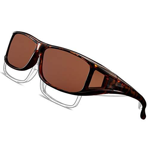 Perfectmiaoxuan Gafas de Sol Polarizadas para llevamos gafas graduadas para hombre mujere/Gafas de sol cubren gafas graduadas Excelentes para Ciclismo Pescar y Conducir (Brown, 65)