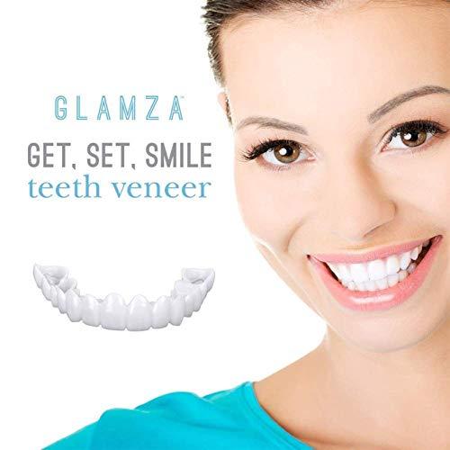 2 Pairs Cosmetic Veneers Fake Teeth, Veneers Snap in Teeth Top And Bottom Comfort Fit Flex Teeth Veneer Cover The Imperfect Teeth for Snap on Instant & Confident Smile at Home 2 Upper and 2 Lower