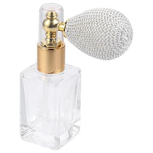 Lurrose Botella de perfume de 15 ml de vidrio vintage recargable en polvo botella de vidrio transparente vacío rellenable perfume contenedor de almacenamiento