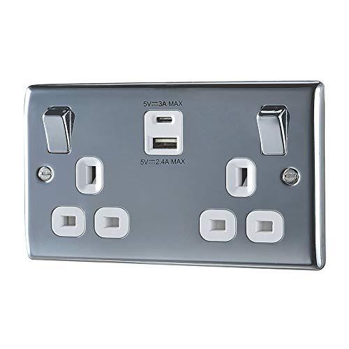 BG elektrische dubbele geschakelde stopcontact met type A en C USB-oplaadpoorten, 13 ampère, gepolijst chroom met witte ingangen