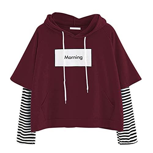 YANFANG Sudadera De Manga Larga A Rayas con Costura Morning Ladies,Tops OtoñO Nuevos para Mujer, Camiseta Talla Grande, Holgada Informal Larga, Top Moda Mujer,Vino,XL
