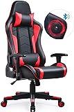 GTPLAYER Gaming Stuhl mit Lautsprecher Bürostuhl Schreibtischstuhl UMIT Serie Musik Audio Gamer Stuhl Drehstuhl Ergonomisches Design PC Stuhl Multi-Funktion E-Sports Chefsessel (Rot)