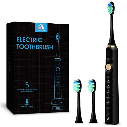 Sonic Electric Toothbrushes for Adults, Rechargeable Whitening Electric Toothbrush with Timer,5 Optional Modes,2 Replacement Heads,Black