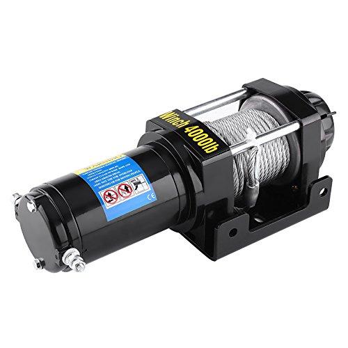 Palan de traction à câble Treuil électrique robuste, Palan électrique 12V 4000lbs hauteur de levage jusqu'à 15 m puissance élevée pour bateau ATV UTV